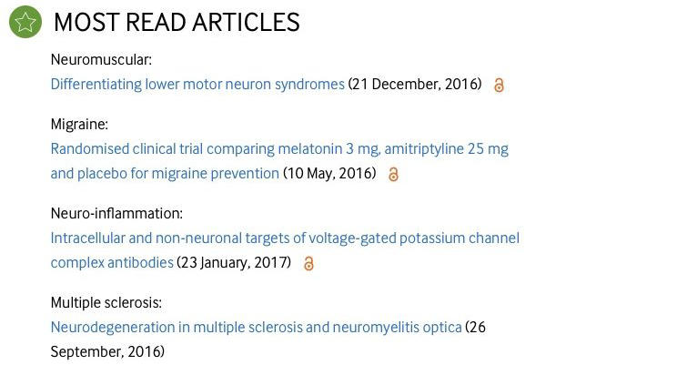Scientific paper by BRI researcher listed in most read articles in J Neurol Neurosurg Psychiatry
