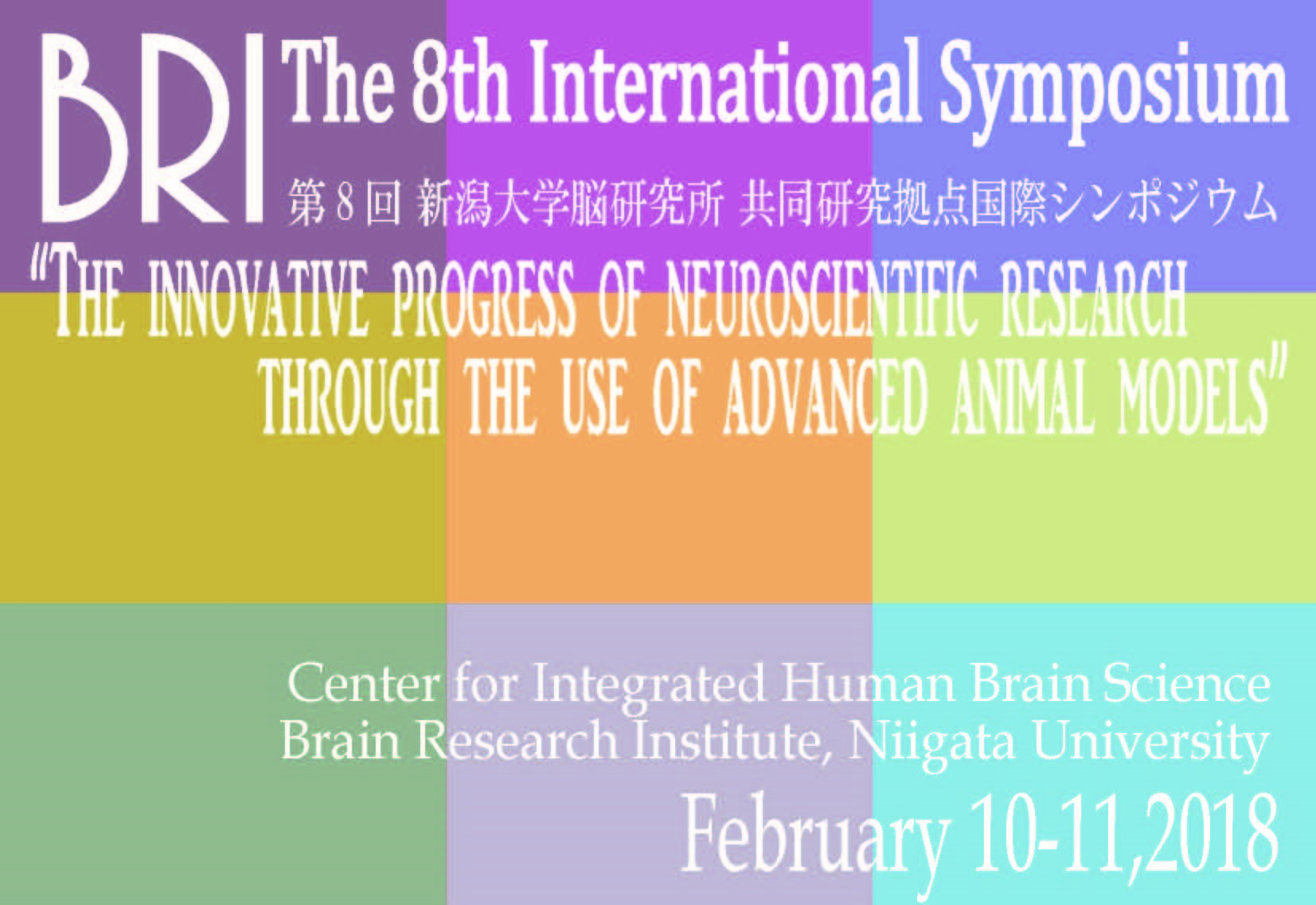 The 8th BRI International Symposium. February 10th - 11th, 2018